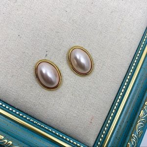 Trifari Vintage Faux Pink Pearl Earrings